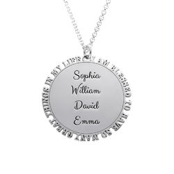 Inspirational Family Disc Necklace in Sterling Silver product photo