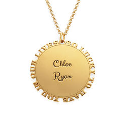 Inspirational Family Disc Necklace in Gold Plating product photo