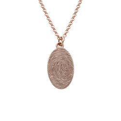 Fingerprint Oval Necklace with 18K Rose Gold plating product photo