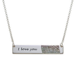Fingerprint Bar Necklace in Sterling Silver product photo