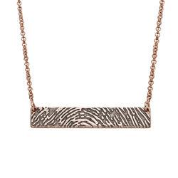 Fingerprint Bar Necklace with Back Engraving in 18K Rose Gold Plating product photo