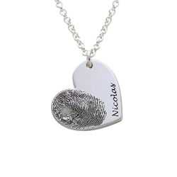 Fingerprint Heart Necklace in Sterling Silver product photo