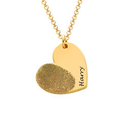 Fingerprint Heart Necklace in 18K Gold Plating product photo