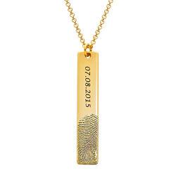 Fingerprint Engraved Vertical Bar Necklace with 18K Gold Plating product photo