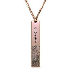 Fingerprint Engraved Vertical Bar Necklace with 18K Rose Gold Plating product photo