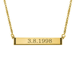 Numeral Bar Necklace with Cubic Zirconia in 18K Gold Plating product photo