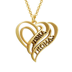 Personalized 3D Heart Necklace with 18K Gold Plating product photo