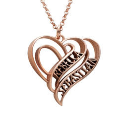 Personalized 3D Heart Necklace with 18K Rose Gold Plating product photo