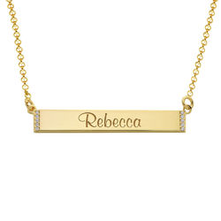 Engravable Bar Necklace with Cubic Zirconia with 18K Gold Plating product photo