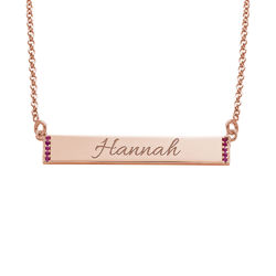 Engravable Bar Necklace with Cubic Zirconia with 18K Rose Gold Plating product photo