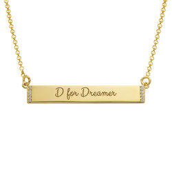 Inspirational Bar Necklace with Cubic Zirconia with 18K Gold Plating product photo