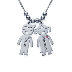 Silver Mother's Necklace - Children Charms with Cubic Zirconia product photo