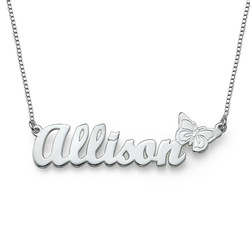 Teen's Butterfly Name Necklace in Sterling Silver product photo