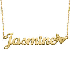 Teen's Butterfly Name Necklace with 18K Gold Plating product photo