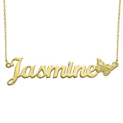 Teen's Butterfly Name Necklace in 10K Solid Gold product photo