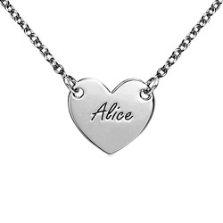 Engraved Heart Necklace in Sterling Silver for Teens product photo