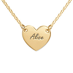 Engraved Heart Necklace with 18K Gold Plating for Teens product photo