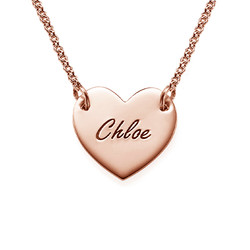 Engraved Heart Necklace with 18K Rose Gold Plating for Teens product photo