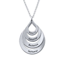 Engraved Sterling Silver Family Necklace - Four Drops product photo