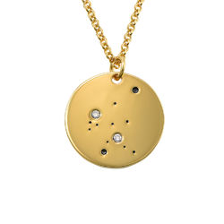 Aquarius Constellation Necklace with Diamonds in Gold Plating product photo