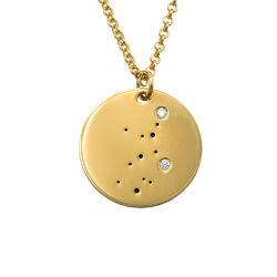 Virgo Constellation Necklace with Diamonds in Gold Plating product photo
