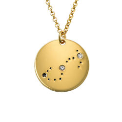 Scorpio Constellation Necklace with Diamonds in Gold Plating product photo