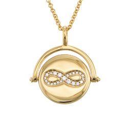 Spinning Infinity Pendant Necklace in Gold Plating product photo