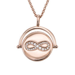 Spinning Infinity Pendant Necklace in Rose Gold Plating product photo