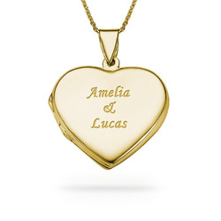 18k Gold plated Engraved Heart Locket Necklace product photo