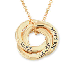 Russian Ring Necklace in Gold Plated Silver -3D Curved Design product photo