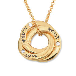 Russian Ring Necklace in Gold Vermeil with CZ Stones product photo