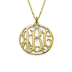 18k Gold Plated Circle Monogram Necklace product photo