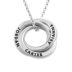 Russian Ring Necklace in Silver - Irregular Circle Design product photo