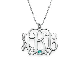 Silver Three Initial Monogram Necklace with Birthstone product photo