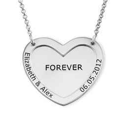 Double Heart Necklace in Silver product photo