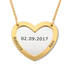 Double Heart Necklace in Silver and Gold Plating product photo