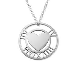 Roman Numeral Heart Circle Necklace in Silver product photo