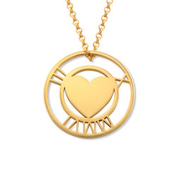 Roman Numeral Heart Circle Necklace in Gold Plating product photo