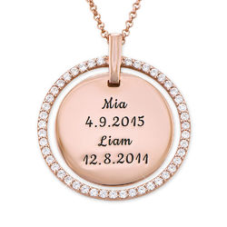 Engraved Mother Disc Necklace with Crystals in Rose Gold Plating product photo