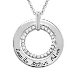 Engraved Circle Necklace in Sterling Silver product photo