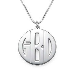 Personalized Sterling Silver Block Monogram Necklace product photo