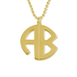 Gold Plated Block Letter Monogram Necklace product photo