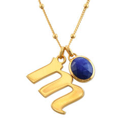 Initial Necklace in Gold Plating with Semi-Precious Gemstone product photo