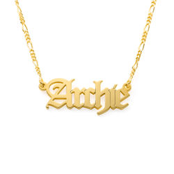 Custom Gothic Name Necklace in Gold Vermeil - Unisex product photo