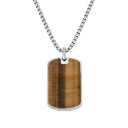 Tiger's Eye Dog Tag Necklace for Men product photo