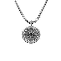 Engraved Compass Pendant Necklace for Men in Sterling Silver product photo
