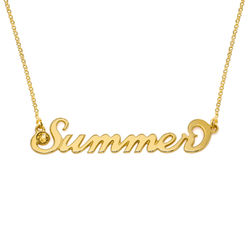 Gold Vermeil Carrie Style Name Necklace with Birthstone product photo