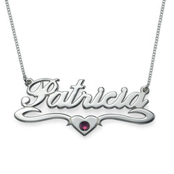 Silver Middle Heart Swarovski Crystal Name Necklace product photo