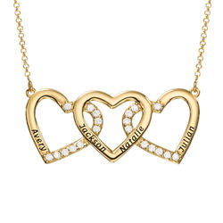 Engraved 3 Hearts Pendant Necklace in Gold Plating product photo