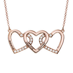 Engraved 3 Hearts Pendant Necklace in Rose Gold Plating product photo
